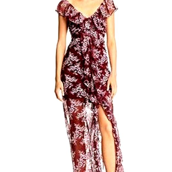 WAYF Marie Burgundy Floral Ruched Lace Maxi Dress